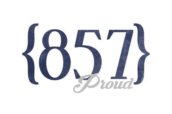 Cambridge, Massachusetts - 857 Area Code (Blue)-Lantern Press-Art Print