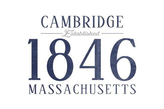 Cambridge, Massachusetts - Established Date (Blue)-Lantern Press-Art Print