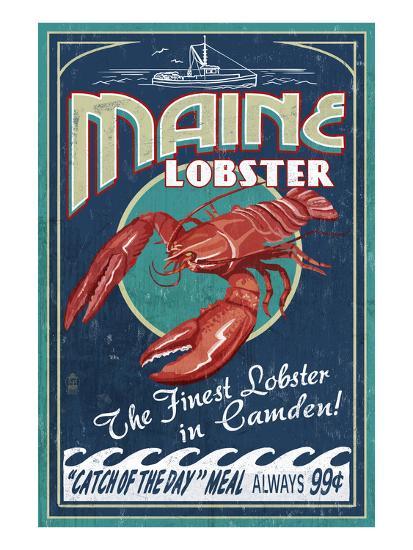 Camden, Maine - Lobster-Lantern Press-Art Print
