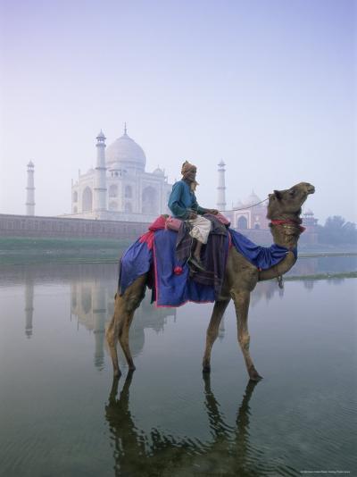 Camel and Rider in Front of the Taj Mahal and Yamuna River, Taj Mahal, Uttar Pradesh State, India-Gavin Hellier-Photographic Print
