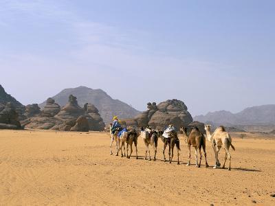 Camel Caravan, Akakus, Sahara Desert, Fezzan, Libya, North Africa, Africa-Sergio Pitamitz-Photographic Print