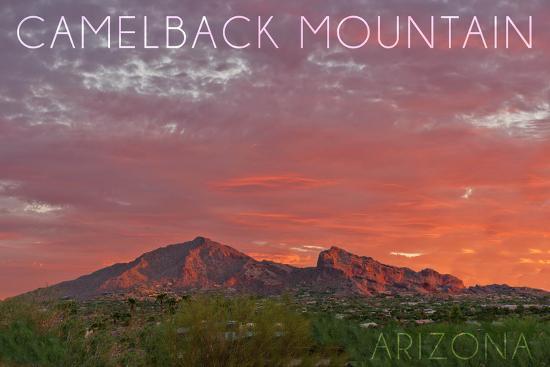 Camelback Mountain, Arizona - Sunset-Lantern Press-Wall Mural