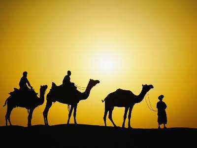 Camels and camel driver silhouetted at sunset, Thar Desert, Jodhpur, India-Adam Jones-Photographic Print