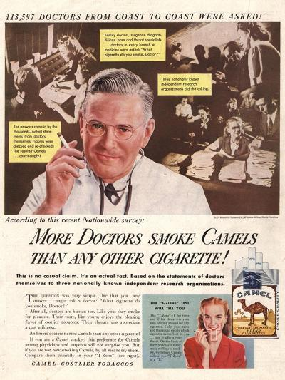 Camels, Cigarettes Smoking Medical, USA, 1946--Giclee Print