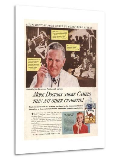 Camels, Cigarettes Smoking Medical, USA, 1946--Metal Print