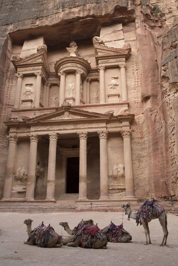 Camels in Front of the Treasury, Petra, Jordan, Middle East-Richard Maschmeyer-Photographic Print