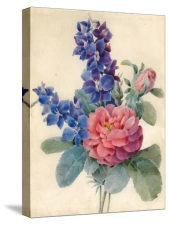 Flowers, Roses and Larkspur