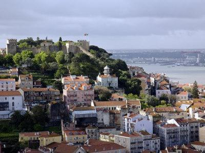Lisbon, the Castelo Sao Jorge in Lisbon with the Rio Tejo in the Background, Portugal