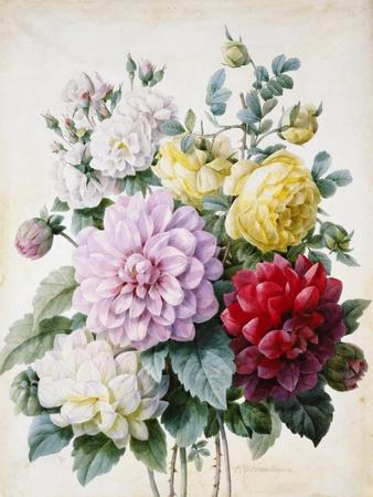 Bouquet of Dahlias and Roses