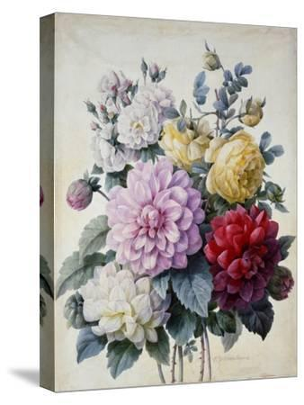 Bouquet of Flowers, Dahlias and Roses, Published C.1830-40 (Stipple Hand Coloured)