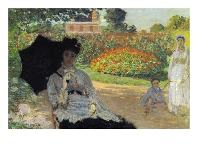 Camille In The Garden with Jean and His Nanny-Claude Monet-Art Print