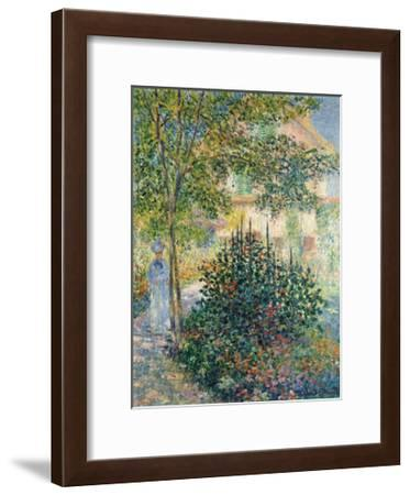 Camille Monet in the Garden at Argenteuil, 1876-Claude Monet-Framed Premium Giclee Print