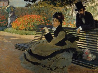 Camille Monet on a Garden Bench-Claude Monet-Giclee Print