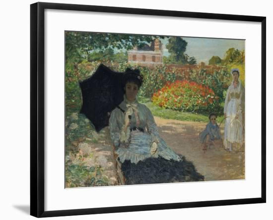 Camille Monet with Son and Nanny in the Garden, 1873-Claude Monet-Framed Giclee Print