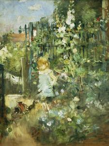 A Child in the Hollyhocks, 1881 by Camille Pissarro