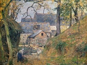 A Farm at Montfoucault, 1894 by Camille Pissarro