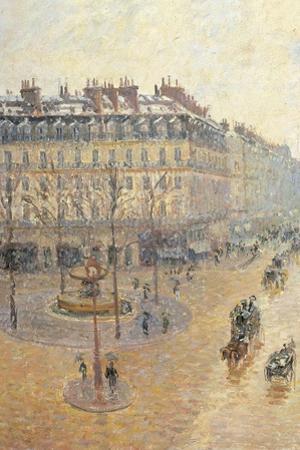 Avenue de L'Opera. Snow Effect. Morning by Camille Pissarro