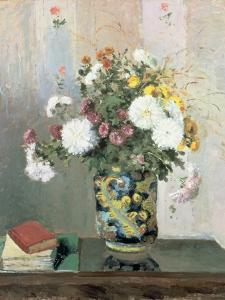 Bouquet of Flowers, Chrysanthemums in a Chinese Vase by Camille Pissarro