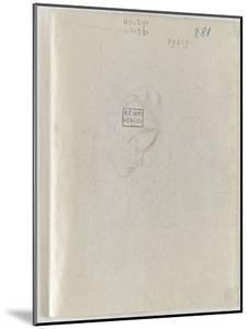 Croquis sommaire d'une tête de vieille femme by Camille Pissarro
