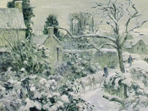 Effect of Snow with Cows at Montfoucault, 1874 by Camille Pissarro