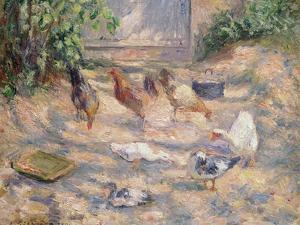 Farmyard at Pontoise, 1877 by Camille Pissarro