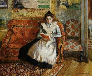 Jeanne Pissarro, Reading by Camille Pissarro