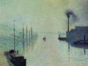"Lacroix Island ""The Effect of Fog"" 1888 by Camille Pissarro"