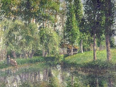 Le lavoir de Bazincourt by Camille Pissarro