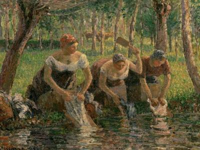 Les Lavandieres, the Washerwomen, 1895 by Camille Pissarro