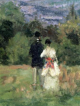 Louveciennes, Detail of Lovers by Camille Pissarro