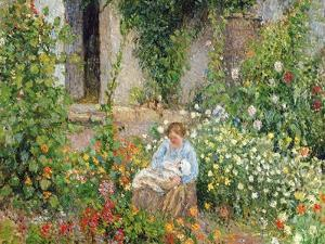 Mother and Child in the Flowers, 1879 by Camille Pissarro