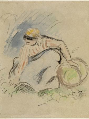 Paysanne accroupie vue de face tenant un panier de la main gauche by Camille Pissarro