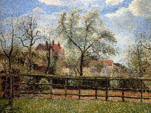 Pear Trees and Flowers at Eragny, Morning, 1886 by Camille Pissarro