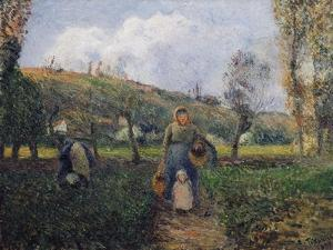 Peasant and Child Returning from the Fields by Camille Pissarro