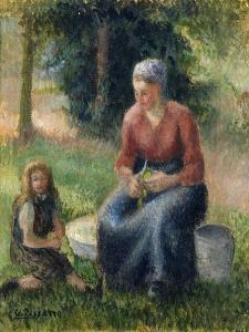 Peasant and girl, Eragny by Camille Pissarro