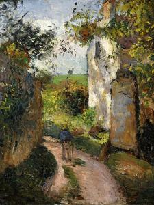 Peasant on an Alley by a House, Pontoise; Paysan Dans Une Ruelle a L'Hermitage, Pontoise, 1876 by Camille Pissarro