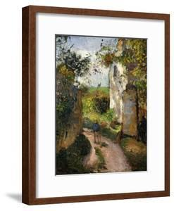 Peasant on an alley by a House, Pontoise by Camille Pissarro