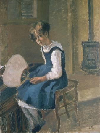 Portrait of Jeanne Holding a Fan, 19th Century by Camille Pissarro