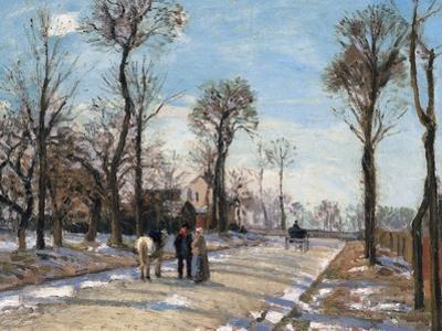 Route De Versailles, Louveciennes, Winter Sun and Snow, C. 1870 by Camille Pissarro