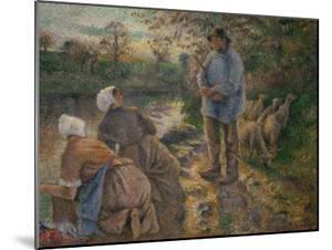 Shepherd and Washerwomen, 1881 by Camille Pissarro