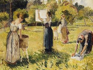 Study of Washers at Eragny; Les Laveuses, Etude, a Eragny, c.1901 by Camille Pissarro