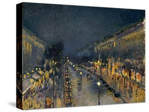 The Boulevard Montmartre at Night, 1897 by Camille Pissarro