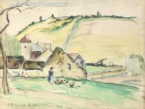The Farm at Chatillon-Sur-Seine, 1882 (W/C, Wash and Charcoal on Paper) by Camille Pissarro