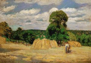 The Harvest, c.1876 by Camille Pissarro