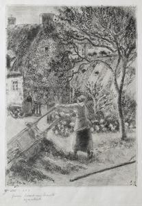Woman Emptying a Wheelbarrow, 1880 by Camille Pissarro