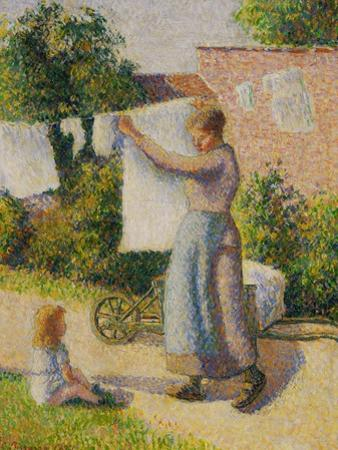 Woman Hanging Her Laundry, 1887 by Camille Pissarro