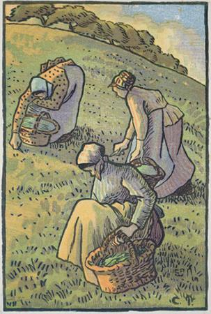 Women Gathering Mushrooms, from 'Travaux Des Champs', Engraved by Lucien Pissarro (1863-1944) by Camille Pissarro