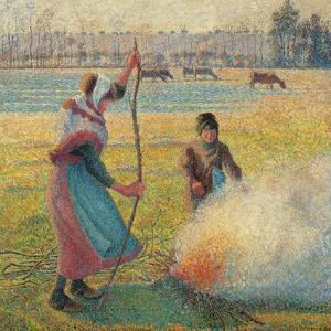 Young Peasants Feeding a Fire by Camille Pissarro