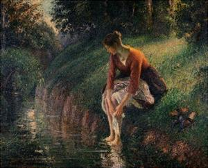 Young Woman Bathing Her Feet in a Brook by Camille Pissarro