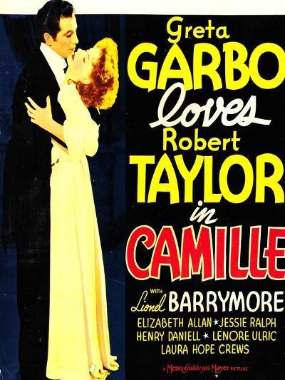 Camille, Robert Taylor, Greta Garbo on window card, 1936--Art Print